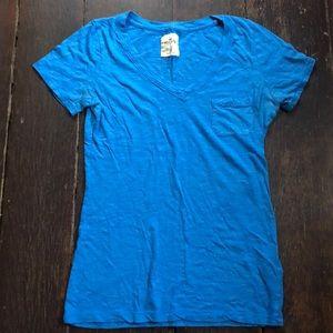 Hollister Blue Pocketed V-Neck T-Shirt